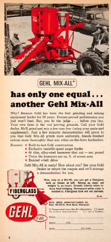 1966 Ad Gehl Mix-All Grinder Mixer Auger Feeder Agriculture Farming Machinery - Original Print Ad from PeriodPaper LLC-Collectible Original Print Archive