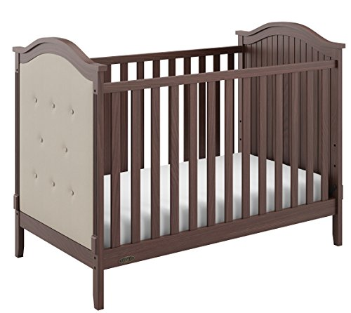 Graco Linden Upholstered 3-in-1 Convertible Crib, Walnut/Sand Easily Converts to Toddler Bed & Day Bed, 3-Position Adjustable Height Mattress