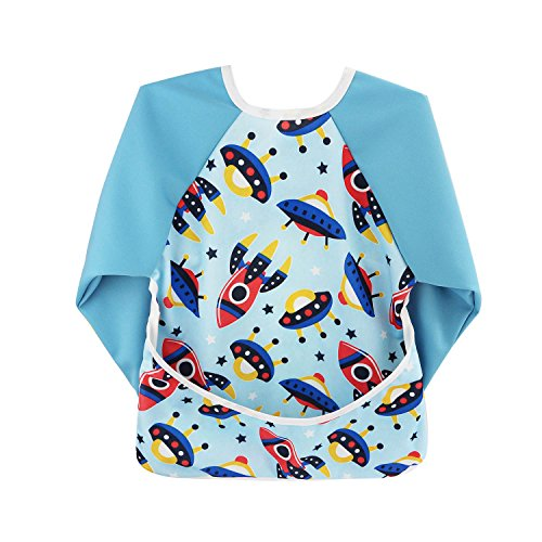 - Hi Sprout Unisex Infant Toddler Baby Super Waterproof Sleeved Bib, Reusable Bib with Sleeves& Pocket, Multi Patterns, 6-24 Months (fantastic space)