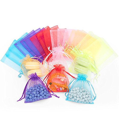 120pcs Organza Gift Candy Bags Color Jewelry Pouches Wrap Candy Drawstring Bag for Party Favor Baby Shower Birthday Wedding Christmas 4.6 x 3.9 Inch