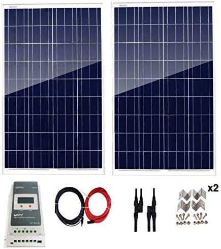 AUECOOR 200 Watt Solarpaneel-Set 200 W 12 V Off-Gitter-System mit MPPT 20 A Solarregler + 5 m Solarkabel + Z-Halterungen + MC4-Zweigverbinder für Wohnmobil/Boot-Off-Gitter-System