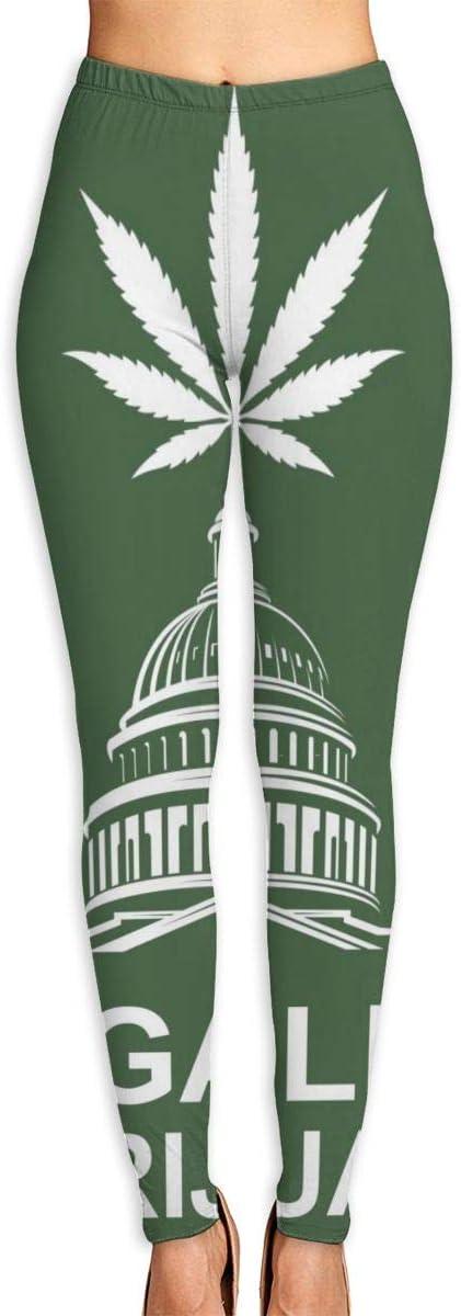 Pantalones de Yoga para Mujer, ilustración de Marihuana o Hoja de Cannabis en Capitol Building Pantalones de Entrenamiento de Cintura Alta