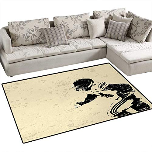 - Sports,Carpet,Rugby Player in Action Running Success in Arena Playground Sport Best Team Picture,Area Silky Smooth Rugs,Beige Black,48