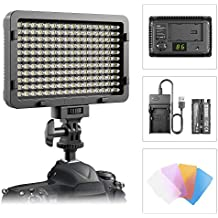 LED Video Light, ESDDI 176 LED Ultra Bright Dimmable Camera Panel Light with Battery and USB Cable for Canon, Nikon, Pentax, Panasonic, Sony, Samsung, Olympus and All DSLR Cmeras