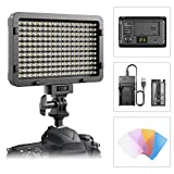 #7: LED Video Light, ESDDI 176 LED Ultra Bright Dimmable Camera Panel Light with battery and USB Cable for Canon, Nikon, Pentax, Panasonic, Sony, Samsung, Olympus and All DSLR Cmeras