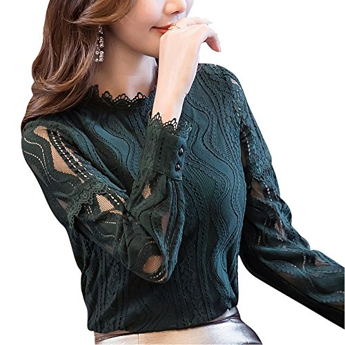 SansoiSan Women Hollow Out Green Button Lace Long Sleeve Elegant Blouse(XS-5XL) (Small, Green) (Lace Button Up Blouse)