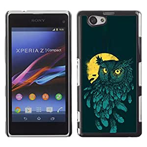 Exotic-Star ( Teal Yellow Night Bird Painting ) Fundas Cover Cubre Hard Case Cover para Sony Xperia Z1 Compact / Z1 Mini / D5503