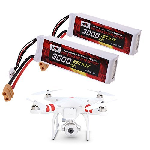 2 Pack 25C 3S 3000mAh 11.1V LiPo Battery (XT60 Plug Connector) for DJI Phantom 1 FC40 DJI Flame Wheel F450 F550 FPV Quadcopter and Other Toy RC Vehicles by chuangsheng