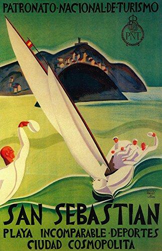 San Sebastian, Spain - San Sebastian Vintage Travel Poster (12x18 Art Print, Wall Decor Travel Poster) by Lantern Press