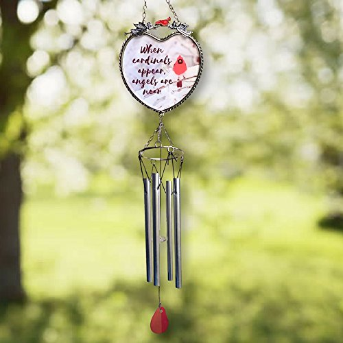 Memorial Windchimes - When Cardinals Appear Angels are Near - Red Cardinal Wind Chime with a Remembrance Saying