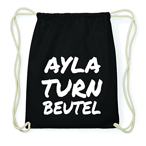 JOllify AYLA Hipster Turnbeutel Tasche Rucksack aus Baumwolle - Farbe: schwarz Design: Turnbeutel s6polEPgni