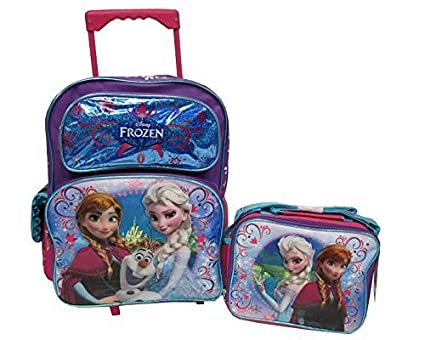 "Disney Frozen Elsa, Anna & Olaf Large 16""rolling Backpack with Frozen Lunch Box"