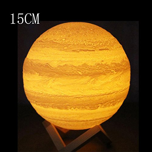 Iuhan Jupiter Night Light, 3D USB Lights Hand Contact Jupiter Night Light LuminousTable Desk Lamp Gift (15cm)