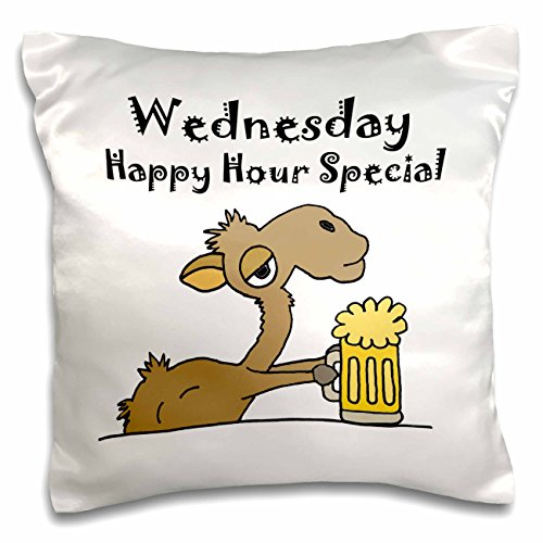 All Smiles Art Food and Drink - Funny Camel Drinking Beer on Hump Day - 16x16 inch Pillow Case (pc_245422_1)