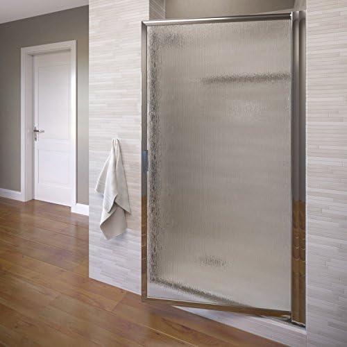 Basco Deluxe 22.75- 24.5 in. Width, Glass Shower Door, Rain Glass, Silver Finish