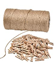 TIMESETL 328Feet Natural Jute Twine, Heavy Duty Garden Twine Packing String for DIY Crafts, Festive Decoration and Gardening Applications
