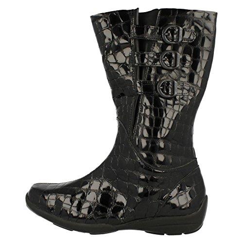 Easy B Ladies Black Leather Boots Sydney - Black Patent, Size 7 4E