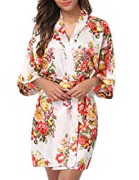 1STMALL batas de satín, estilo kimono, para madrinas de boda, para mujer