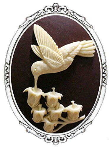 Yspace Fashion Brooch Pin Shield Decor Antique Brass Cameo Jewelry Pouch for Gift (Hummingbird)