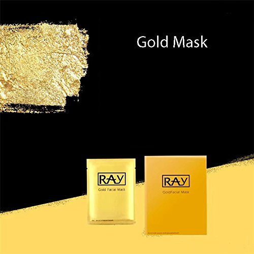 (1 Box 10 PC Thailand Silk Silver Moisturizing Whitening And Brightening Facial Mask By Ray(Gold/Silver) (GOLD))
