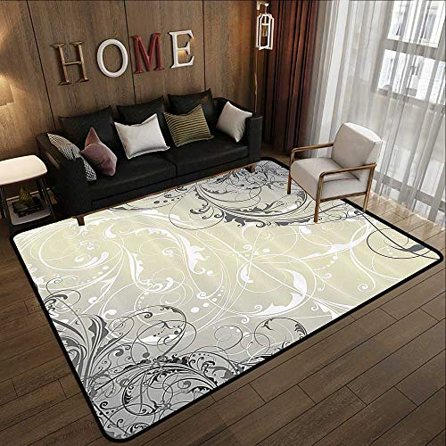 Modern Area Rug with Non-Skid,Floral,Baroque Swirled Branches Curved Flower Leaves Elegance Shabby Chic Pattern,Egg Shell Grey White 78.7