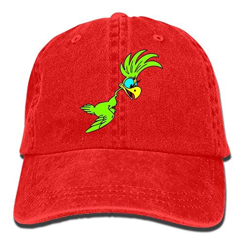 Men Women Camp Hair Bird Green Parrot Cotton Denim Baseball Hat Adjustable Street Rapper Hat