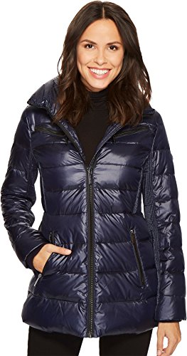 MICHAEL Michael Kors Womens Zip Front Stand Collar Down M822925C Navy MD One Size - Michael Kors Womens Coats