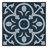 Moroccan Mosaic & Tile House CTP31-07 NadorCTP31-07 Nador 8''x8'' Handmade Cement Tile in Navy Blue/White