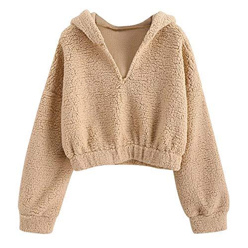 Aniywn Womens V-Neck Drop Shoulder Long Sleeve Pullover Hooded Solid Casual Short Ladies Sweatshirt Top Beige