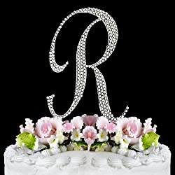 Completely Covered Swarovski Crystal Silver Wedding Cake Toppers ~ LARGE Monogram Letter R by RaeBella Weddings & Events New York
