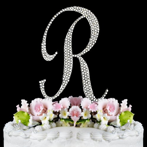 Completely Covered Swarovski Crystal Silver Wedding Cake Toppers ~ LARGE Monogram Letter R by RaeBella Weddings & Events New York (Swarovski Jewelry Cake)