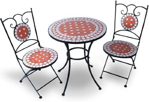 Jago - Ensemble table et 2 chaises de jardin avec mosaïque - en acier -  chaises pliantes