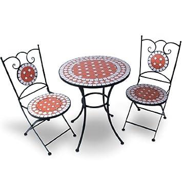 Jago - Ensemble table et 2 chaises de jardin avec mosaïque - en ...