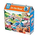 Mudpuppy on the Road Puzzle – 63 Pieces in Vehicle Scene Puzzle with Cranes, Fire Trucks & Police Cars for Ages 4+