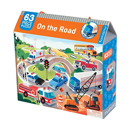 Mudpuppy on the Road Puzzle – 63 Pieces in Vehicle Scene Puzzle with Cranes, Fire Trucks & Police Cars for Ages 4+ by Mudpuppy