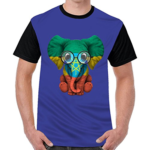 Speciallife Baby Elephant With Glasses and Ethiopian Flag Men's Cotton Short Sleeve T-Shirts Blue