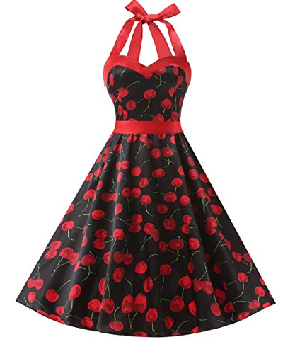DRESSTELLS 50s Retro Halter Rockabilly Polka Dots Audrey Dress Cocktail Dress Cherry Black M