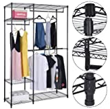 K&A Company Rack Closet Organizer Storage Portable Hanger Clothes Wardrobe Garment Shelves Home Shelf Shoe 48''x18''x71''