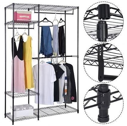 Ku0026A Company Rack Closet Organizer Storage Portable Hanger Clothes Wardrobe  Garment Shelves Home Shelf Shoe 48u0026quot