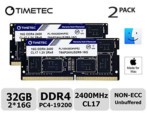 Timetec Hynix IC 32GB KIT(2x16GB) Compatible for Apple 2017 iMac 27-inch w/Retina 5K Display, 2017 iMac 21.5-inch w/Retina 4K or Non-Retina Display DDR4 2400MHz PC4-19200 CL17 SODIMM(32GB KIT(2x16GB))