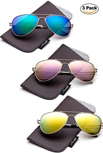 Kids Juniors Aviator Polarized Sunglasses HQ Durable Stainless Steel Frame