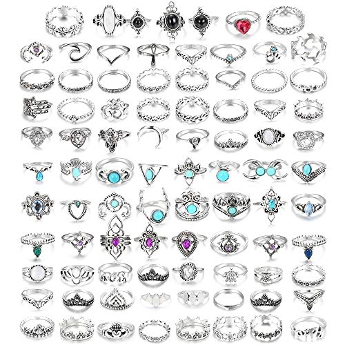 LOLIAS 44-60 Pcs Vintage Knuckle Ring Set for Women Girls Stackable Rings Set Hollow Carved Flowers (D:84 Pcs a Set)