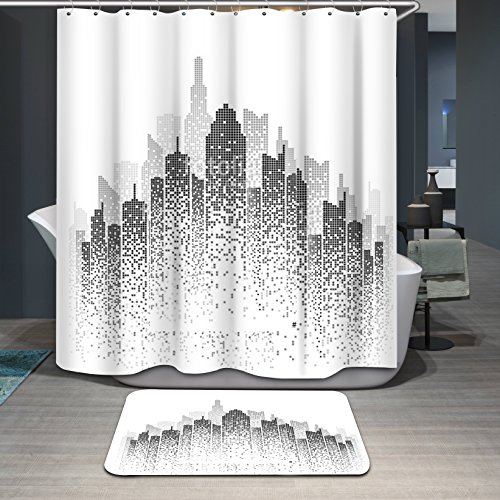 New York City View Modern Collection Decorative Contemporary Shower Curtain with 12 Ring, Blank and White