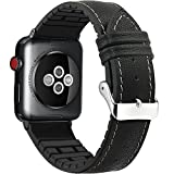 Apple Watch Band 42mm, FanTEK Sports Genuine Leather+Rubber TPU Replacement iWatch Bracelet Strap with Stainless Metal Clasp for Apple Watch Series 3 Series 2 Series 1 (Black-42mm)