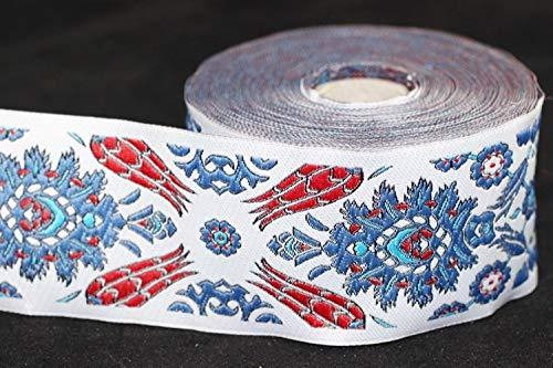 (Ribbonlands 55 mm Iznik Tile Design, Ottoman Motive Jacquard Ribbons (2.16 inches), Jacquard Trim, Tulip Motive Ribbon, DIY Sewing Supplies, Medieval Ribbons (10 Meters/ 32.8 ft))