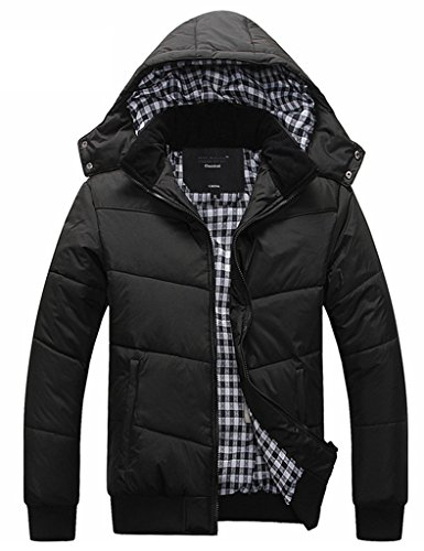 Ubon Mens Winter Thicken Down Jacket Stand Collar Coats With Hood(Black,S) Asian size : (Mens Winter Coat Jacket)