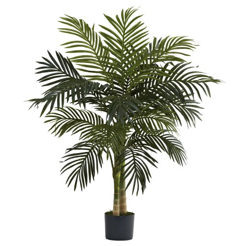 Nearly Natural 5357 Golden Cane Palm Tree, 4-Feet, - Palm Decorative Tree
