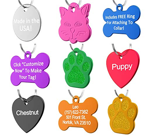 Vet Recommended Pet ID Tag Dog and Cat Personalized | Many Shapes and Colors to Choose From! | MADE IN USA, Strong Anodized Aluminum (Pet Paw Id Tag)