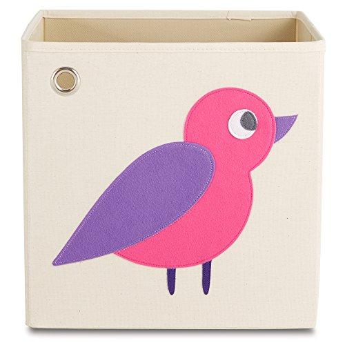 Purple Cubby - kaikai & ash Toy Storage Bins, Foldable Canvas Cube Box for Kids, 13 inch - Enchanted Purple Bird