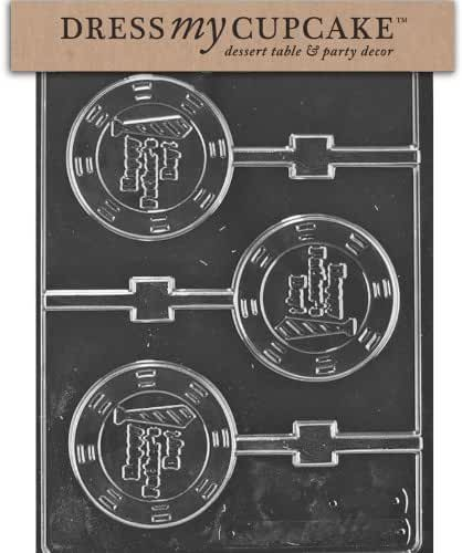 Dress My Cupcake DMCD115 Chocolate Candy Mold, Happy Father's Day Lollipop